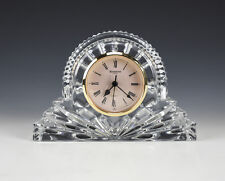 "Large 7"" Waterford Crystal Mantle Desk Cottage Clock Gold Face, quartz movement"