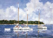 SEASCAPE ART PRINT - Moored Cat Boats by Ray Ellis Coastal Sailboat Poster 30x26