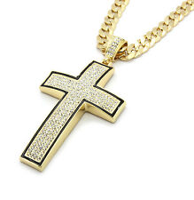 "Mens Gold/Black Iced Out Cross Pendant Hip-Hop 30"" Inch Cuban Necklace Chain K2"