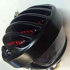 Motorcycle Black Plastic Grille Ribbed Round LED Tail Brake Light Red Lens Most