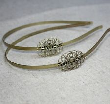 Antique Bronze Headband Hair Band  with filigree - 4 pcs
