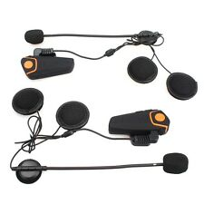 2x BT Motorcycle Helmet Bluetooth Headset Motorbike Intercom Headset 1000M BT-S2