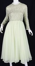 Victoria Royal Ltd vintage Chiffon Beaded sequin cocktail Formal Dress Mint M