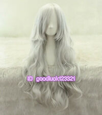 75cm long Ororo Munroe sliver white wavy curly Anime cosplay wig + free wig cap