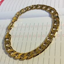 "GF18 Plum UK 18k yellow gold gf curb chain bracelet 8.5""/215mm x 8mm in gift box"