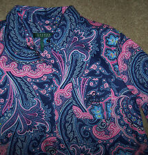 NWT Ralph Lauren Navy Blue/Pink PAISLEY Savile Row Sleep Shirt Nightgown Gown S