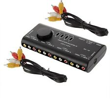 4 Way Audio Video AV RCA Switch Selector Black Box Splitter with 2 RCA Cables