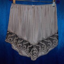 "Silver-gray tap pants nylon-tricot-satin silky vintage panty Small 24-30"" waist"