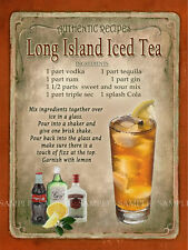 LONG ISLAND ICED TEA COCKTAIL RECIPE,CAFE PUB, MAN SHED,HOME DECOR:METAL SIGN