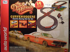 Auto World Dukes of Hazzard Curvehuggers Slot Car Race Set w/Jumps 14' SRS259