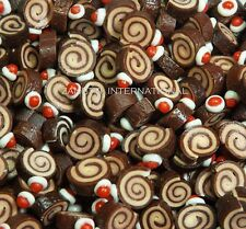 20 Dollhouse Miniature Chocolate Roll Cakes * Doll Mini Sweet Food Bakery