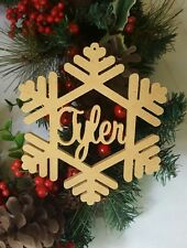 Personallised Snow Flakes Christmas decoration hanging wooden UNPAINTED sign