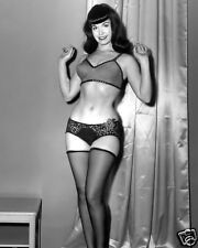 Bettie Betty Page in bra & lace panties and stockings pinup 8x10 rare photo