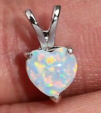 Simple Heart White Fire Opal  Silver Pendant 16mm Necklace