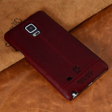 PIERRE CARDIN Genuine Leather Hard Back Case For Samsung Galaxy Note4 N910 Red