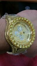 yellow Gold Finish Watch Stainless Steel Iced Out Simulated YELLOW Diamonds