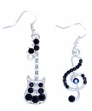 Mismatched silver and black musical note and guitar dangle earrings