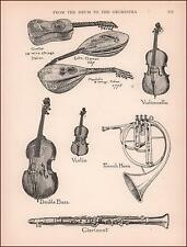 CLARIONET, French Horn, Violin, Guitar, antique print, authentic 1910
