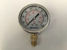 Hydraulic Pressure Gauge 63mm Bottom Entry 0-1800 PSI 120 Bar Gauges GB63120/04