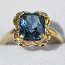 Solitaire Blue Gemstone Ring 14K Yellow Gold 2.1g Size 5 Vintage Antique Jewelry