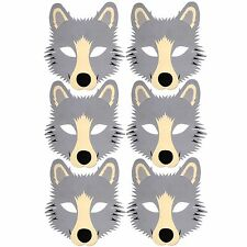 6 Wolf Foam Face Masks - Fancy Dress Animal Halloween - by Blue Frog Toys Ltd