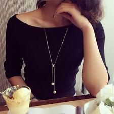 New Fashion Jewelry Women Pearl Pendant Long Thin Chain Sweater Necklace