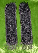 Set of 2 Antique Steel Beaded Black Silk Moire Ribbons