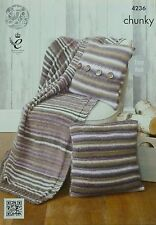 Tejer patrón fácil Knit blanket/throw Y Cojines (almohadas) Grueso King Cole