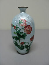 ANTIQUE JAPANESE CLOISONNE GINBARI ENAMEL MINIATURE VASE, FLORAL DECORATION