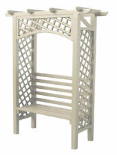 1:12th White Painted Wood Garden Arbour & Seat Dolls House Miniature Accessory