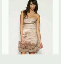 KAREN MILLEN RARE SILK CHAMPAGNE ORGANZIA ROSE HEM DRESS (WEDDING) SIZE 12