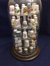 Vintage Collectible Set of 50 Thimbles in Dome Display Case