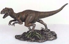 "Velociraptor Dinosaur Detailed Bronze Figurine Miniature Statue 8.5""L New in Box"