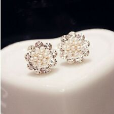 NiX 1303 Round Gold Plated Fashion Crystal Flower Pearl Ball Earrings Pearl Gift