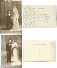 LOT 2 CPA postcard photo couple love Bride and Groom amour Jeunes Mariés [767 A]