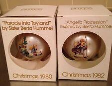 2 Schmid Glass Christmas Ornaments Berta Hummel Original Box 1980 1982