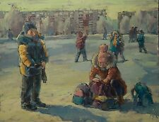 Snowballs game Children Winter cityscape by AVDEEV Original RUSSIAN oil Painting
