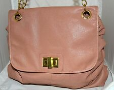 Mark by Avon Tan Faux Leather Flap Front Tote Bag with Gold Chain Straps