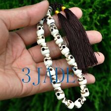 Tibetan Carved Bone Skull Mantra Meditation Buddhist Prayer Beads Wrist Mala