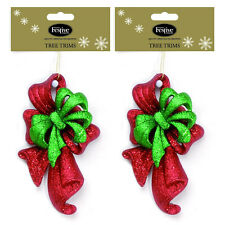 Festive Glitter Bows Christmas Tree Decorations in Green & Red or Gold & Red