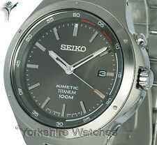 New SEIKO KINETIC TITANIUM SLATE GREY FACE With BLAST TITANIUM BRACELET SKA713P1