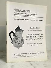 Catalogue de vente Versailles Faiences Meubles et sièges 1979