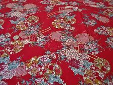 STRETCH COTTON SATEEN PRINT-CHINESE PAGODA FLORAL-RED-DRESS FABRIC-FREE P&P
