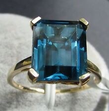 5.96 cts Marambaia London Blue Topaz Solitaire Size 7 Ring 10k Yellow Gold