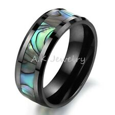 NEW 8mm Black Ceramic Mens Green Abalone Inlay Wedding Band Ring Jewelry SIZE 10