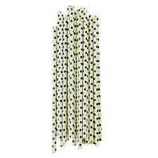 Miss Étoile Papier - Strohhalme  grün / schwarz gepunktet 25 Stück