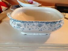 antique vintage open vegetable tureen,BRIDGEWOOD & SON,blue/green transfer ware