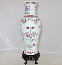 "9.75"" Antique Chinese Export Style Famille Rose Porcelain Vase with Wood Stand"