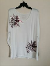 NWT INC International Concepts Women's White Embellished Knit Top  XL A3