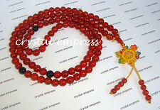 Feng Shui - 8mm Red Agate 108 Mala Rosary for Meditation